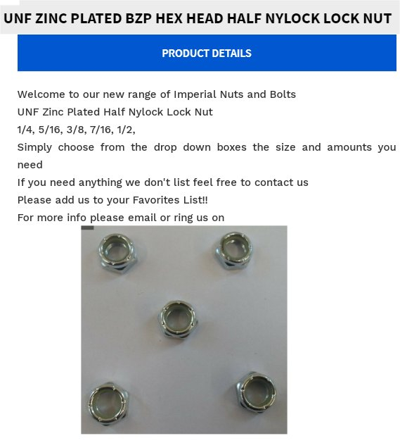 3//8 UNF Nyloc Nylon Insert Nuts Imperial Hexagon Locking BZP Nut Cheapest Around